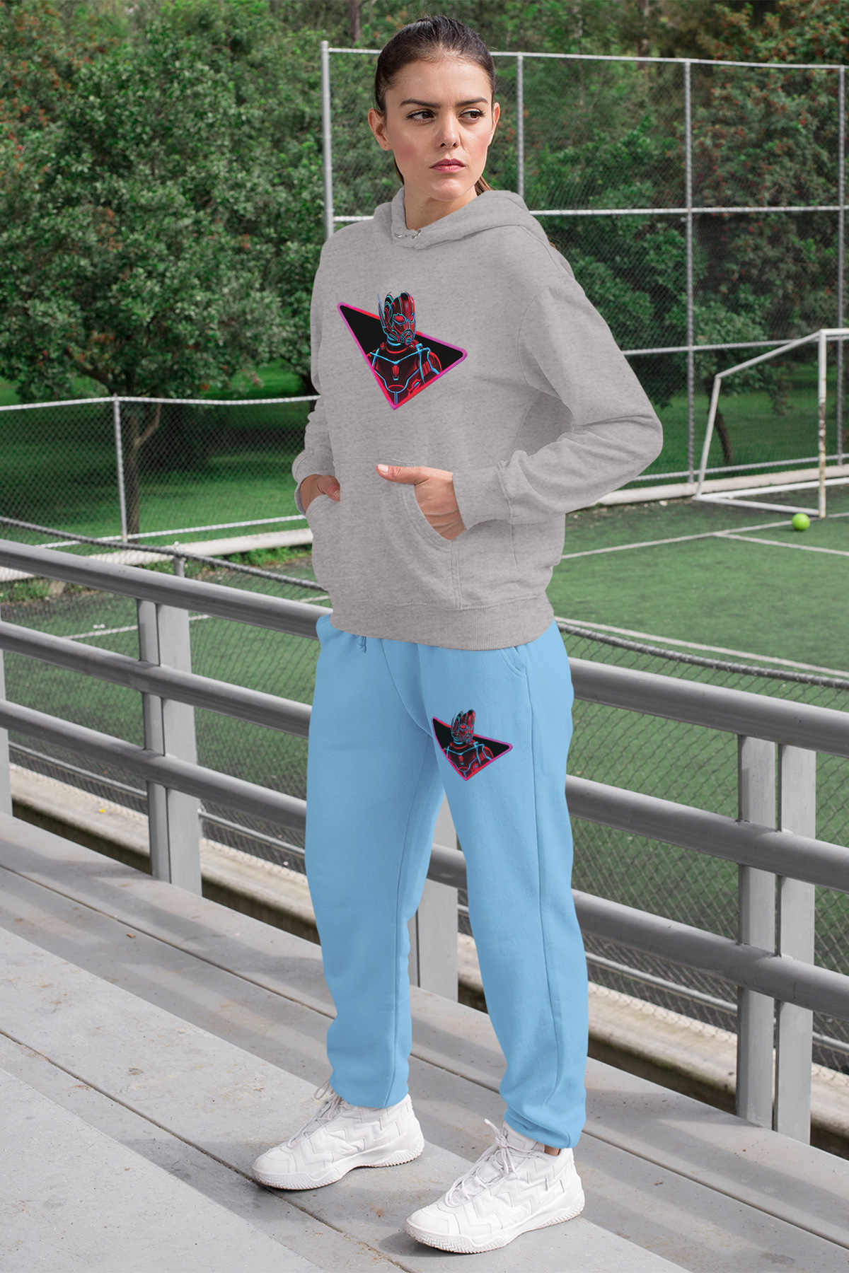Angemiel Wear Ant Hombre Mujer Chandal Conjunto Gris Sudadera Con Capucha Pantalones De Chandal Azul Aliexpress