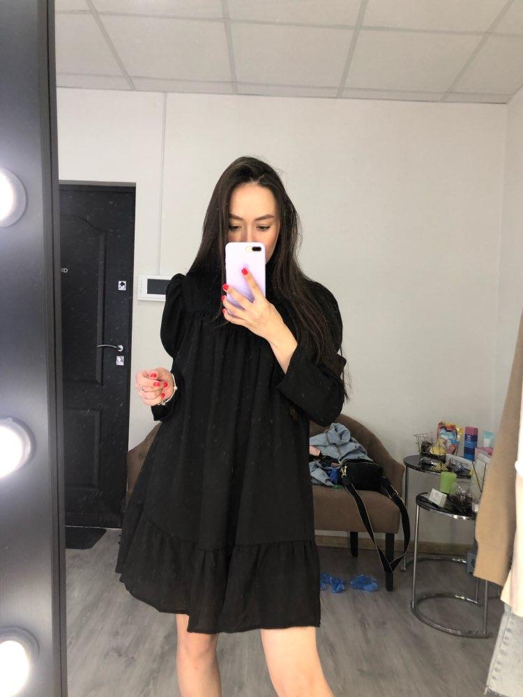 Hot 2019 autumn new fashion women's temperament commuter puff sleeve small high collar natural A word knee Chiffon dress reviews №1 182558