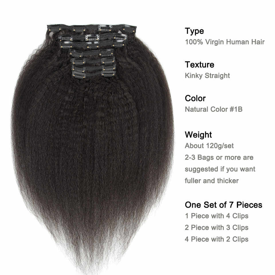 YVONNE Verworrene Gerade Clip In Menschliches Haar Extensions Brasilianische Reines Haar Natürliche Farbe 7 Teile/los 120g