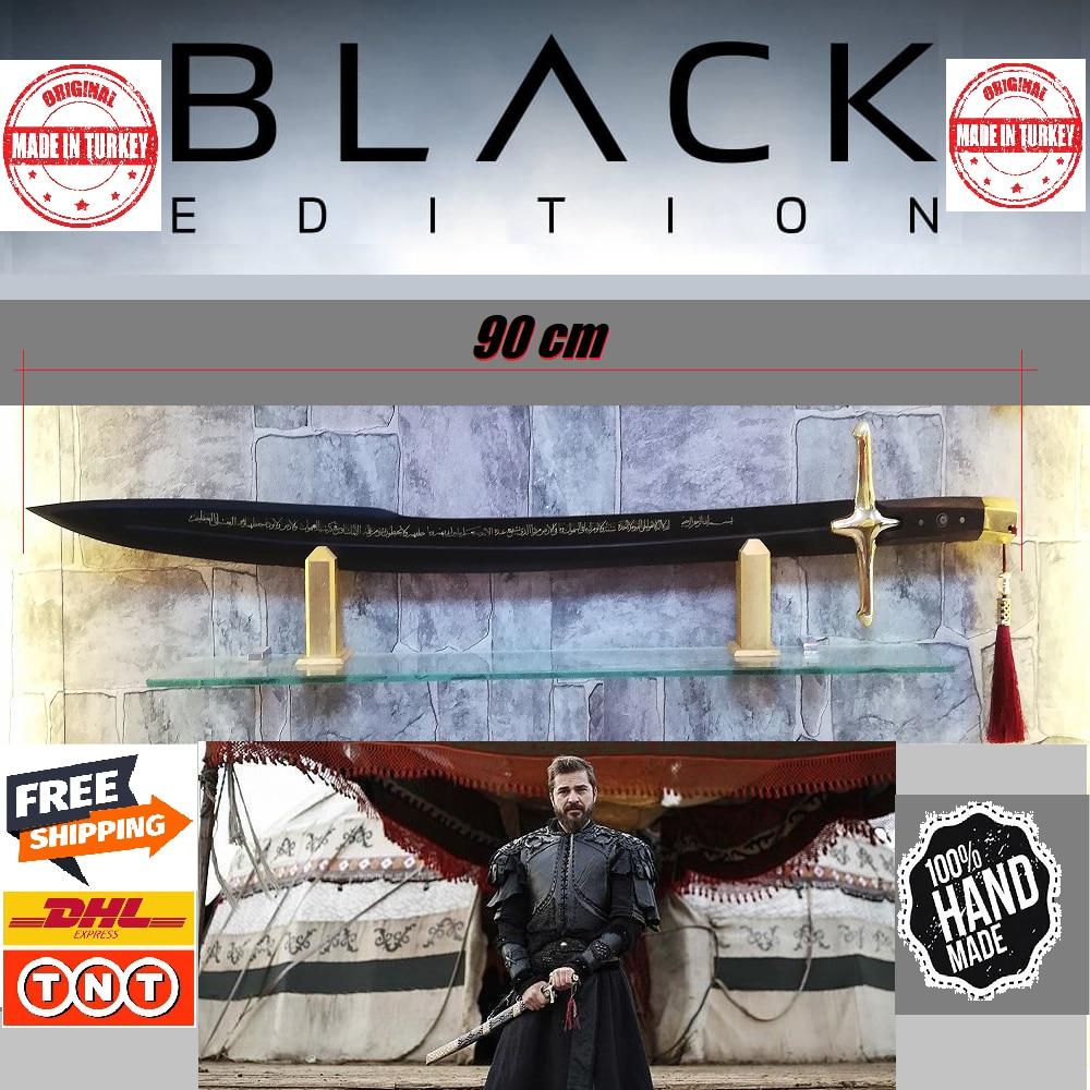 Sword Turkish Ottoman KILIJ ERTUGRUL 100% Handmade Hammered Carbon Steel Sword Matte Black Edition Free Shipping DHL/TNT Express