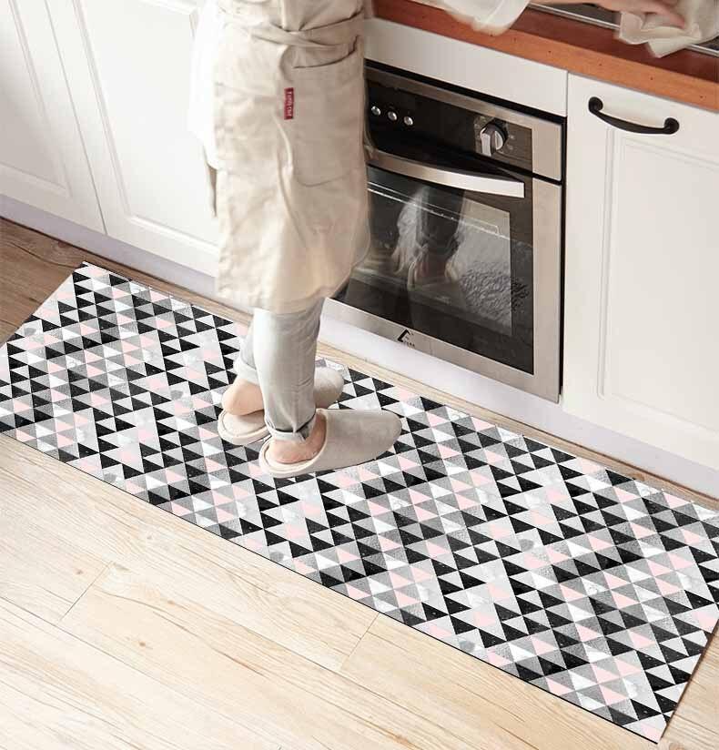 Ev ve Bahçe'ten Halı'de Başka bir gri beyaz pembe petek geometrik 3d baskı kaymaz mikrofiber mutfak sayacı Modern dekoratif yıkanabilir alan kilim Mat title=