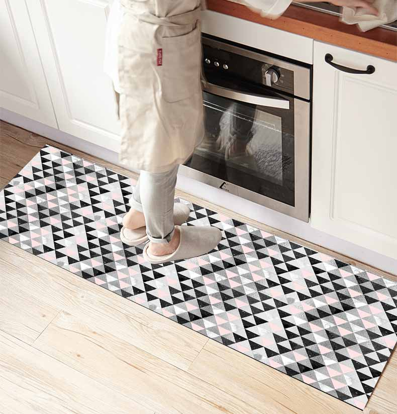 Else Gray White Pink Honeycomb Geometric 3d Print Non Slip Microfiber Kitchen Counter Modern Decorative Washable Area Rug Mat