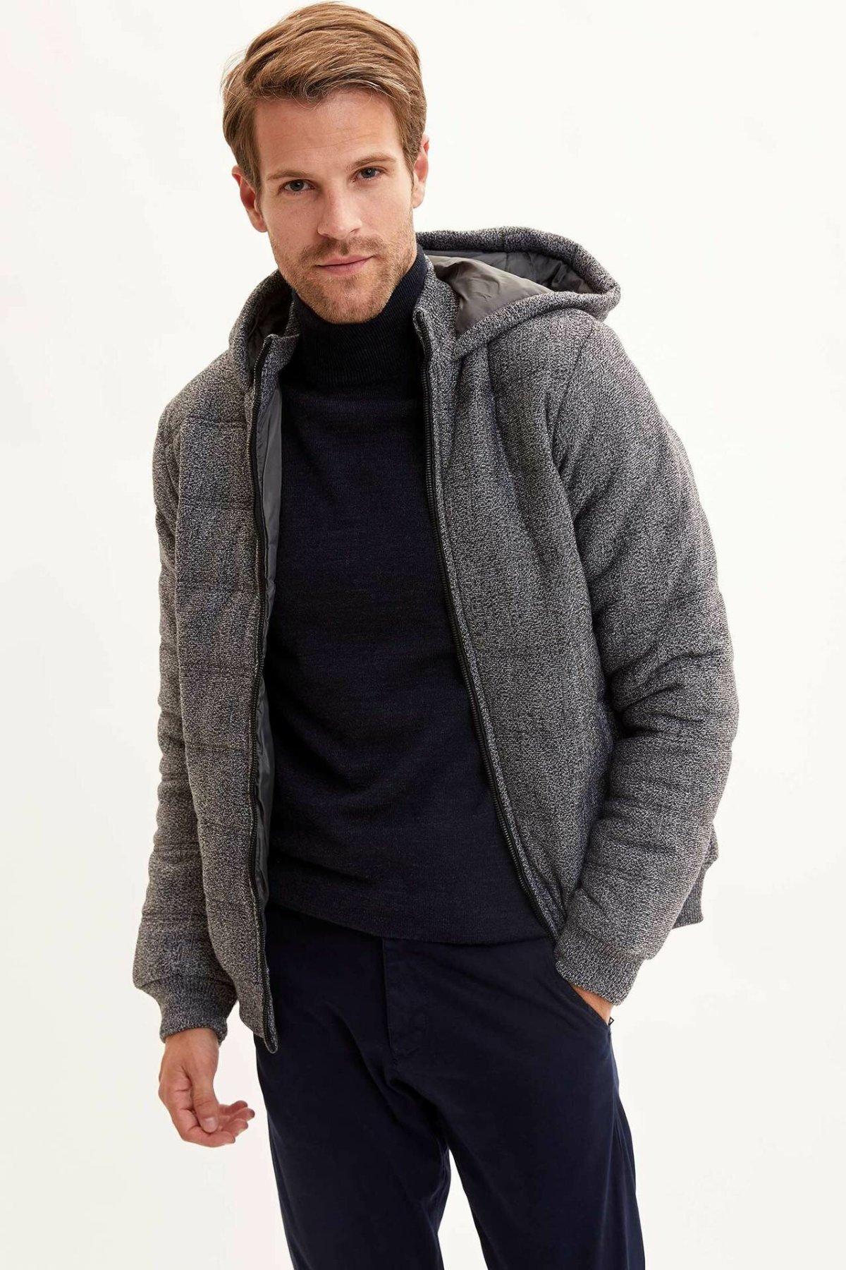 DeFacto Man Fashion Zipper Pure Color Hoodies Thicken Jacket Male Casual Loose Coat Men Spring Autumn New-L1243AZ19WN