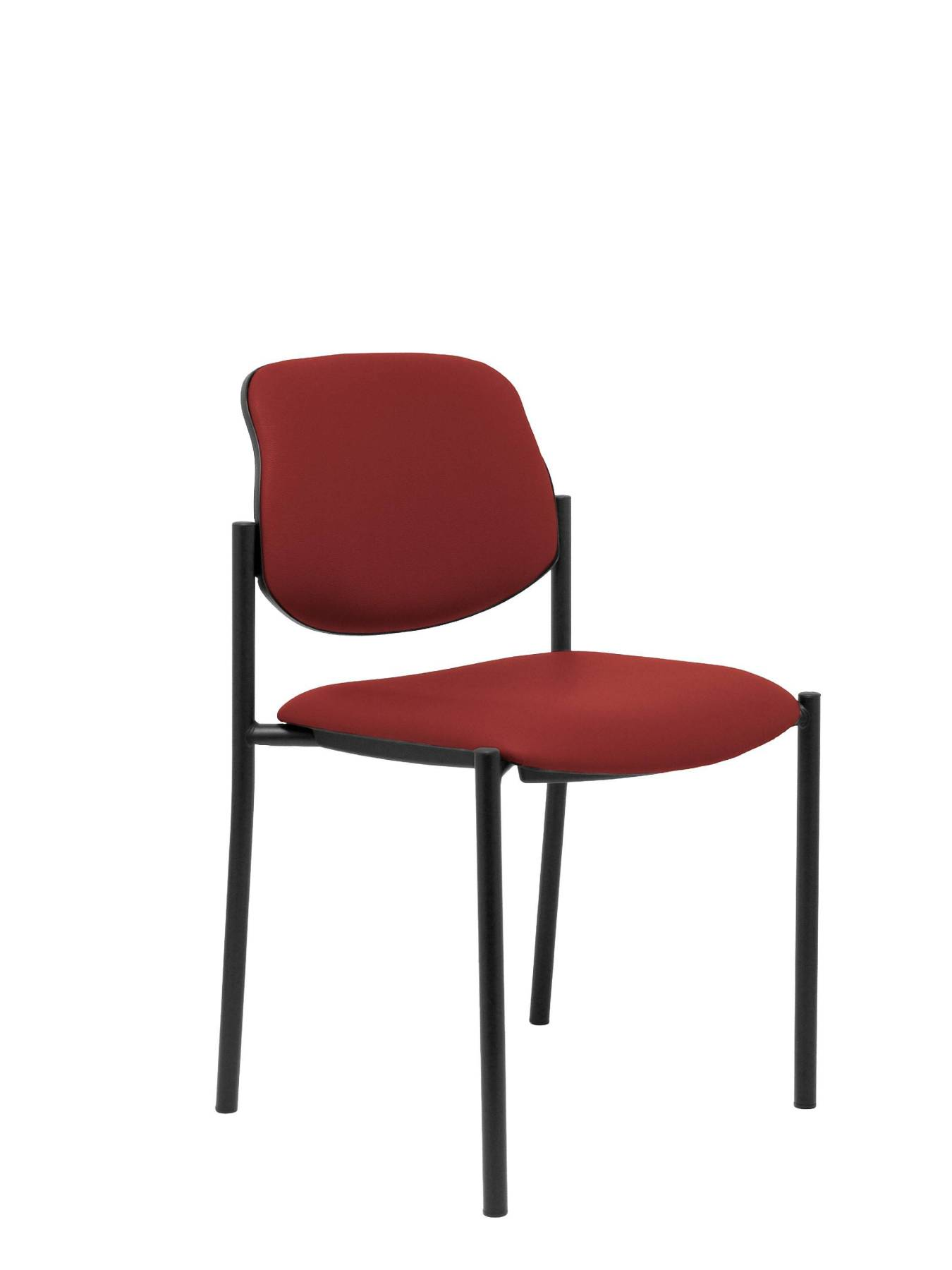 Visitor Chair 4's Topsy And Estructrua Negro-up Seat And Backstop Upholstered In Tissue Similpiel Maroon Color TAPHOLE