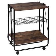1PC pliable chariot de cuisine avec panier à roulettes MDF métal service chariot organisateur cuisine stockage maison étagère