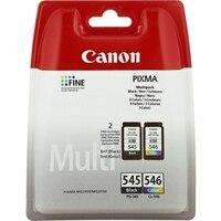 Cartucho de tinta original (embalagem de 2) canon PG-545/CL-546 tricolor preto