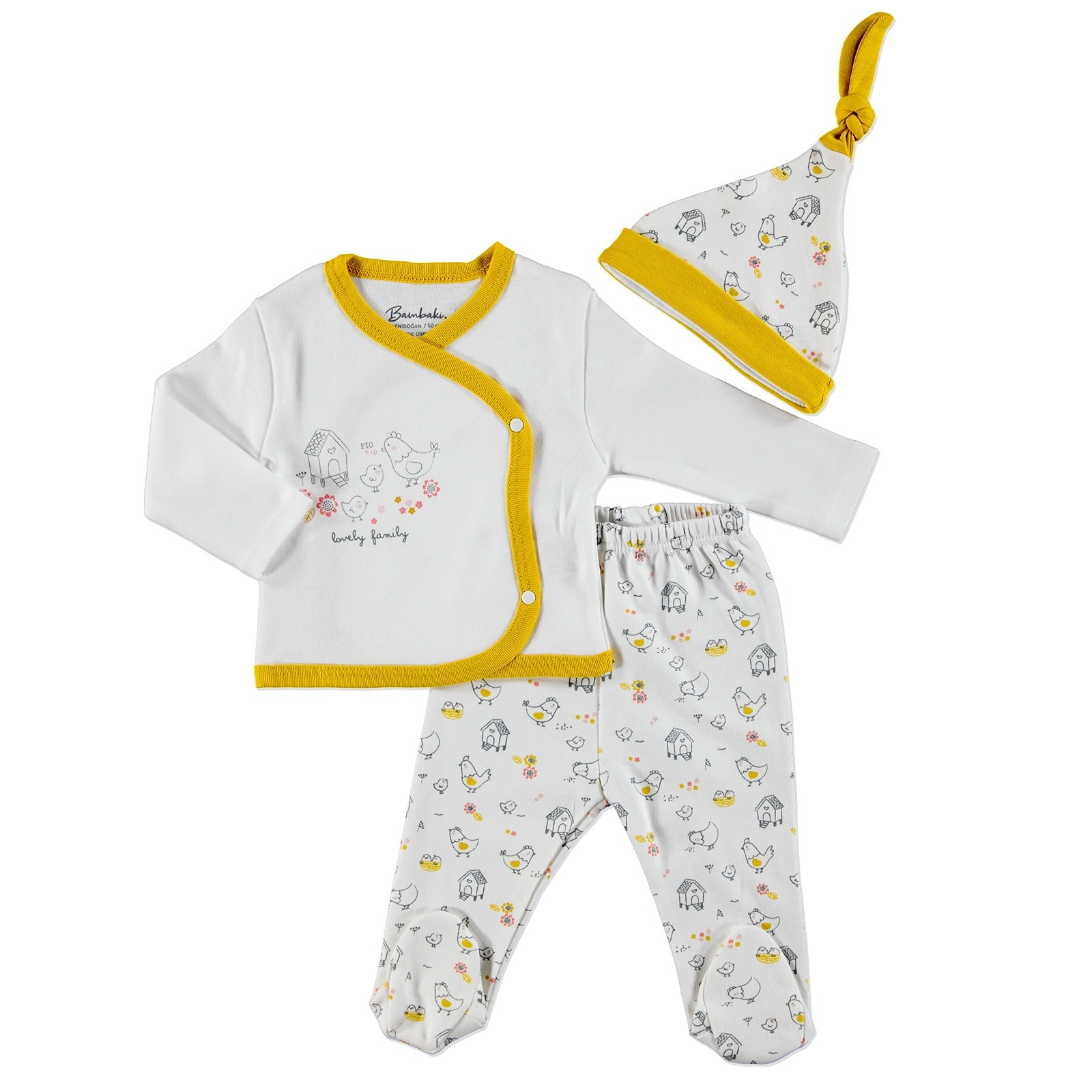 Ebebek Bambaki Happy Family Baby Girl Bodysuit Hat Footed Pants