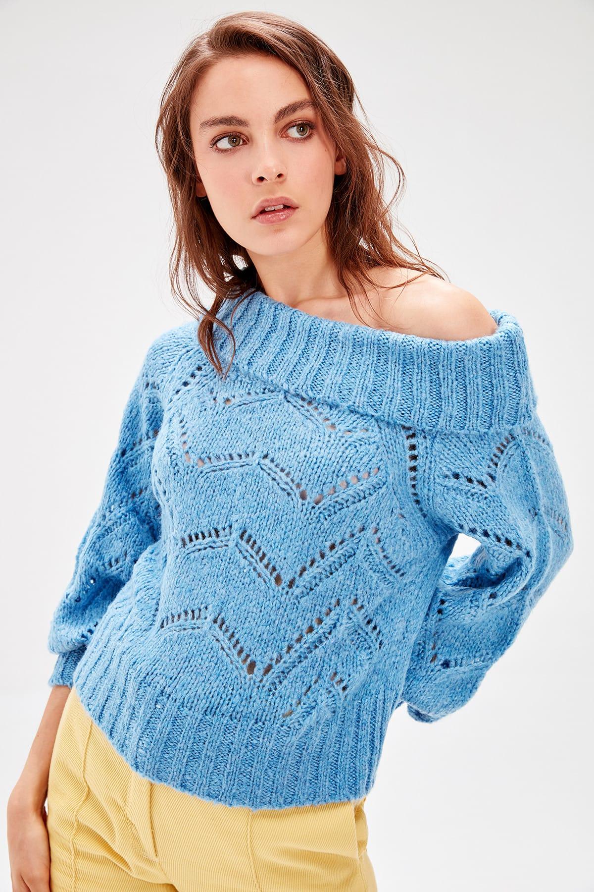 Trendyol Blue Carmen Collar Sweater Sweater TWOAW20ZA0076