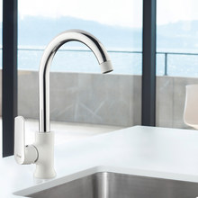 F4031 Kitchen 360 Degree Rotation Single Handle Hot and Cold Water Sink Faucet Single Hole Mixer Basin Faucet(China)