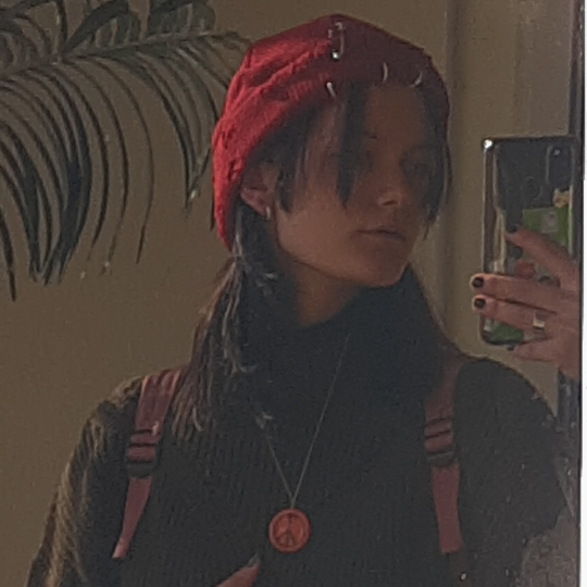 Harajuku Grunge Winter Knitted Hat with Holes, rings and pins photo review