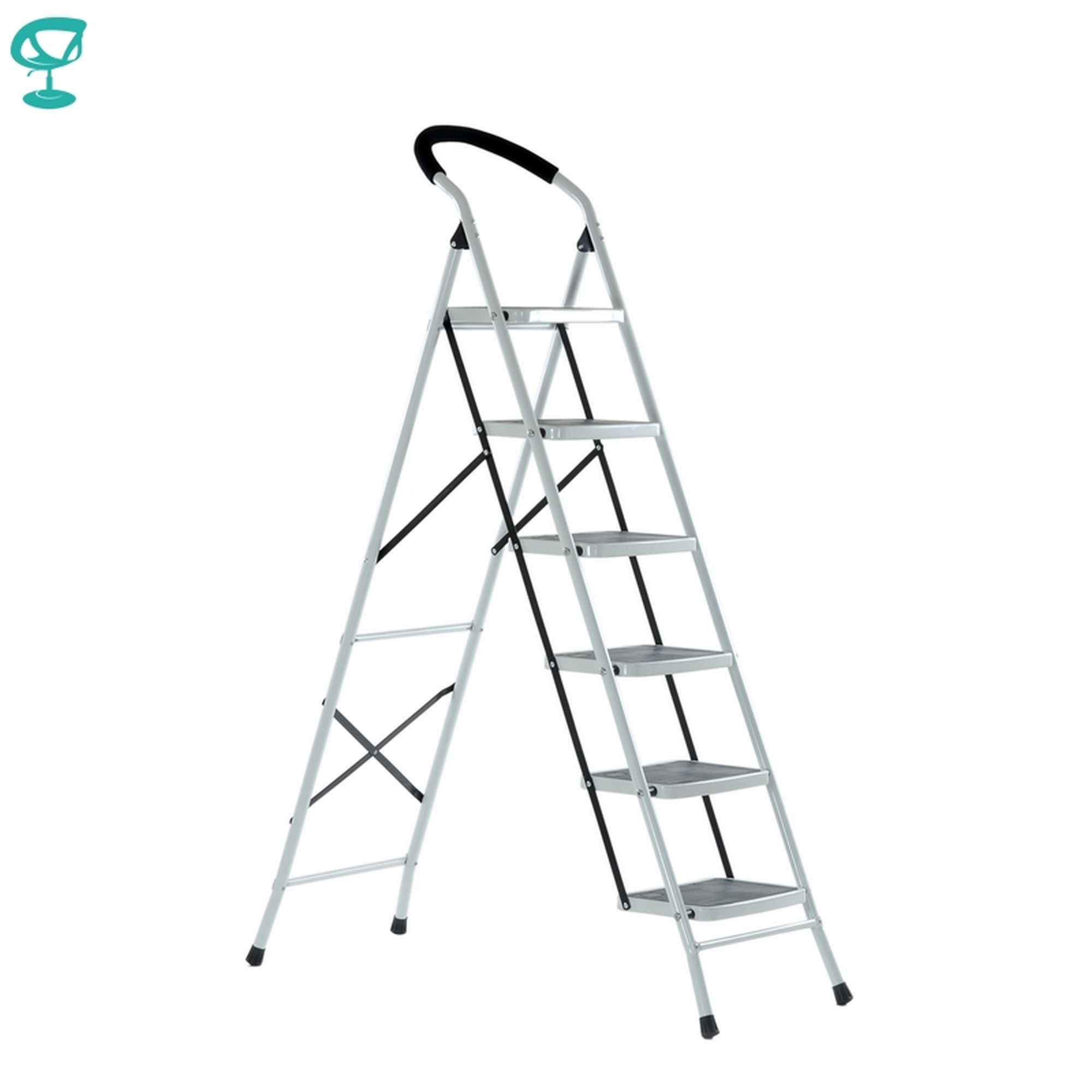 95672 Barneo ST-36 Ladder Steel 6 Stages White Single Side Max Load 150 Kg Free Shipping To Russia