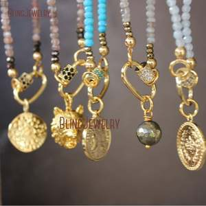 Carabiner Necklace Gold Filled Coin Blue NM33863 Turquoises Francaise Double-Wrap Republique