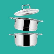 Двухслойная сверхпрочная Нержавеющая сталь Пароварка кастрюля для индукционной плиты паровой горшок набор для приготовления овощей зерна мясо суп