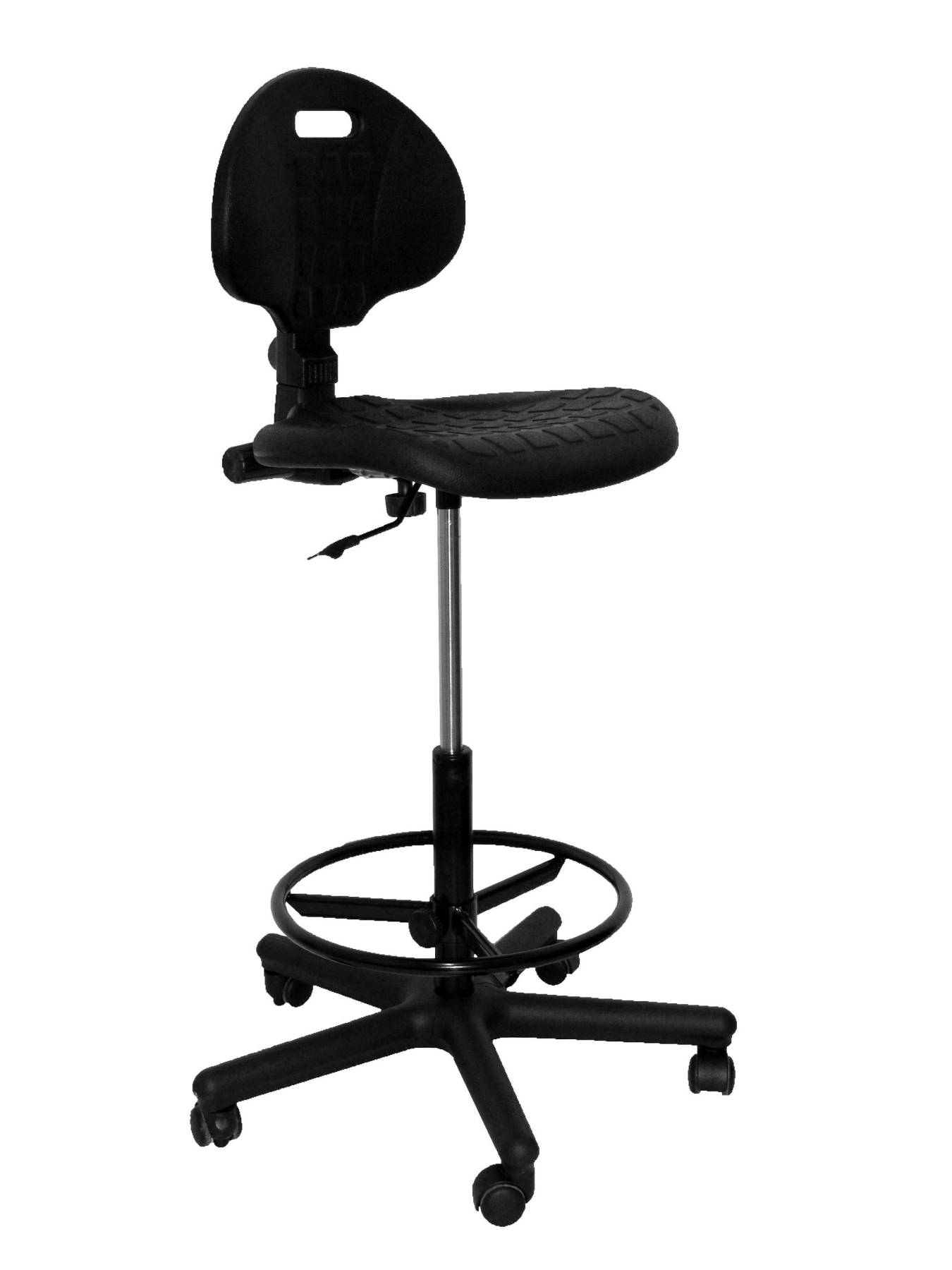 Stool Working Ergonomic, Swivel And Dimmable In High Altitude (hoop Foot Pegs Chrome) Up Seat And Backstop's Poliure