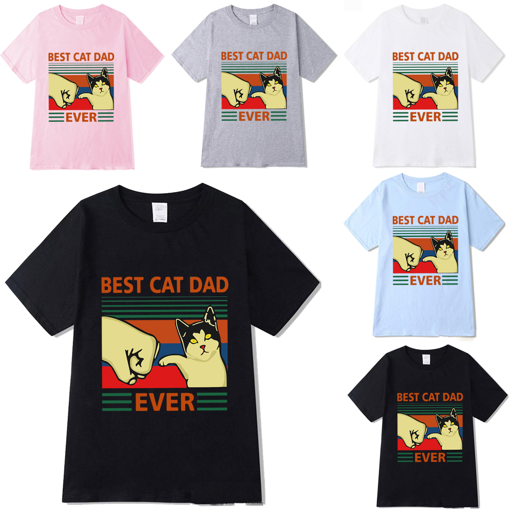 Best Cat Dad Ever Summer Print Shirts Round Neck Short Sleeve Casual Tops