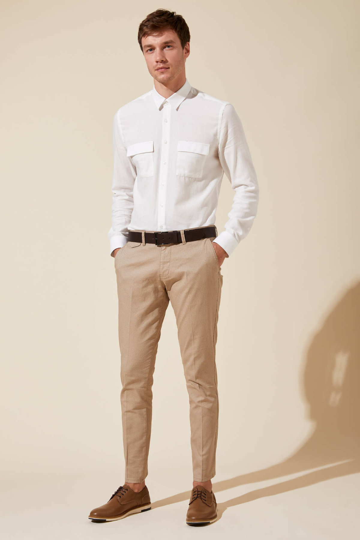 DeFacto Man Casual Smart Long Pants Men Solid Color Pencil Pants Male Mid-waist Formal Bottoms Trousers-K2888AZ19SM