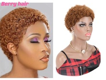 100% Human Hair Short Curly Wig Bliss Wig Pixie Cheap Afro Kinky Curly Wig Virgin Brazilian Curly Short Human Hair Wig For Women