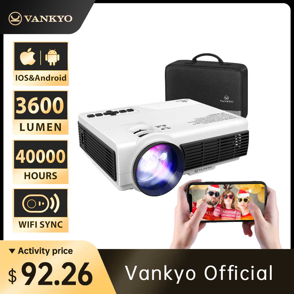 VANKYO loisirs 3W projecteur 1920*1080P 170 ''Wifi Sync affichage Portable projecteur Support TV Stick PS4, HDMI, VGA, TF, AV,USB