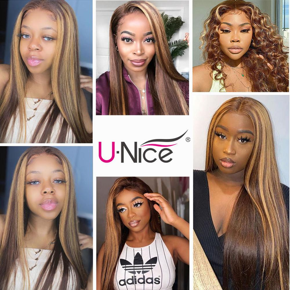 UNice Hair Highlight Wig  Straight  Wigs Piano Honey Blonde Babylights Wig 150% Density 4X1 Lace Part Wig 6