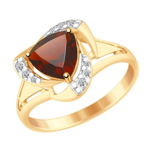 SOKOLOV Ring Gilded With Silver Garnet And Fianitami