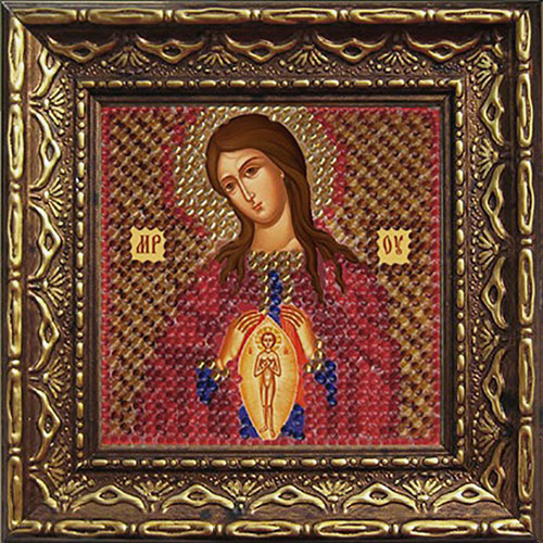 <font><b>2066</b></font> DPI set for embroidery with beads 'вышивальная mosaic 'icon of the Mother of God 'assistant in Road', 6,5*6,5 cm image