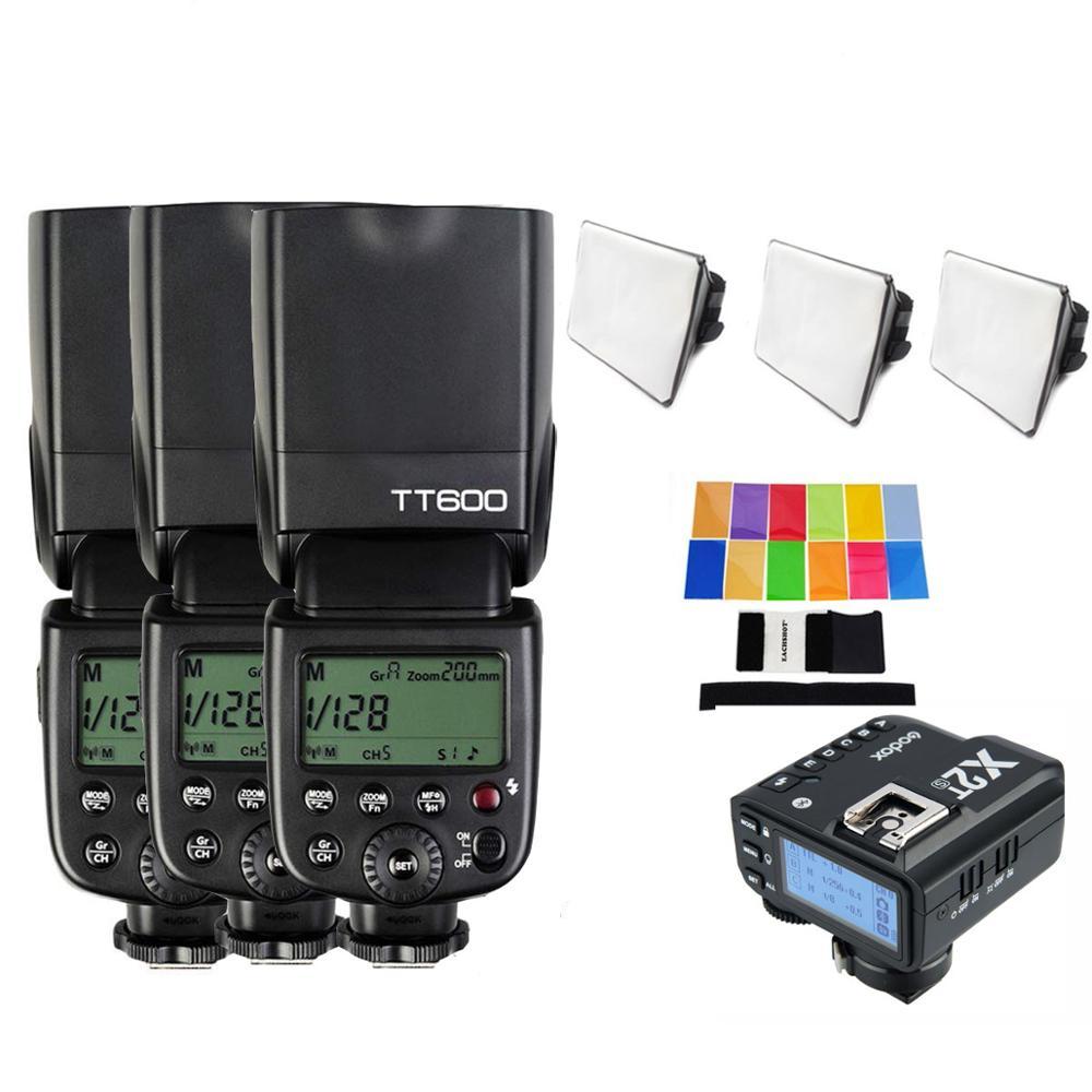 Вспышка для камеры Godox TT600 TT600s, 3 шт., Беспроводная вспышка 2,4G, триггер для фотоаппарата X2T, фотовспышка HSS TTL для Canon, Nikon, Sony, Fujifilm, Olympus