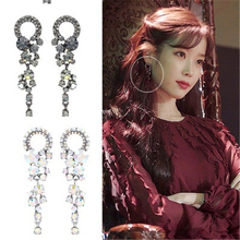Lee Ji Eun  with the earring Black French retro earrings for women brincos fashion jewelry mujer geometric цена в Москве и Питере