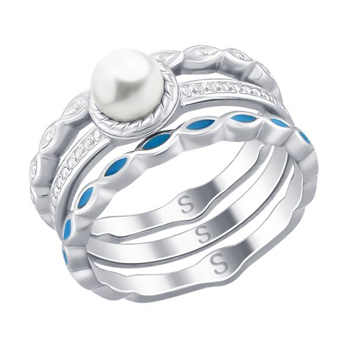 SOKOLOV Ring Of Silver With Enamel And Pearls