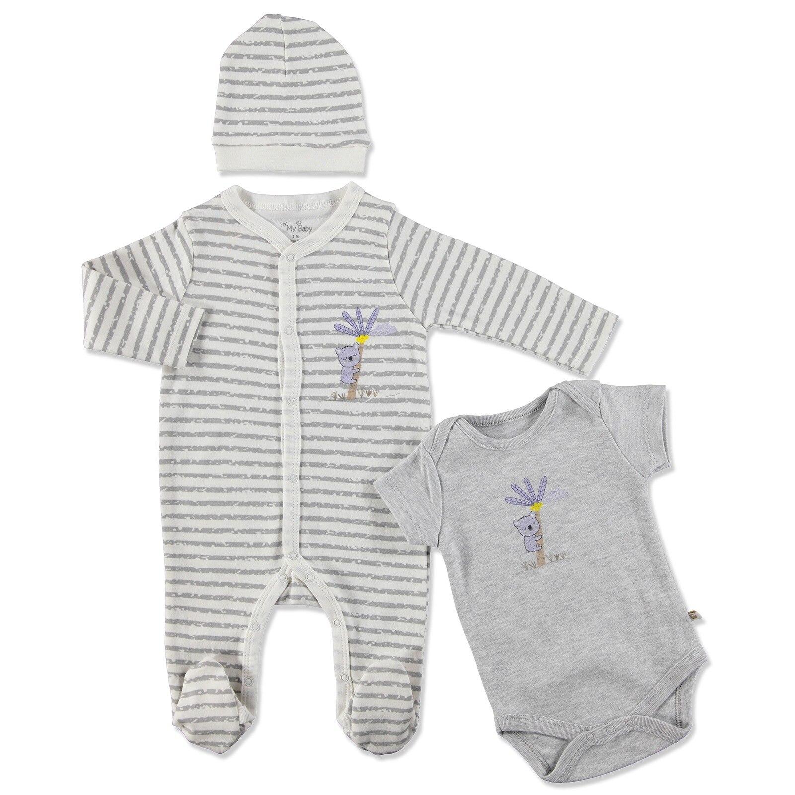 Ebebek For My Baby Summer Boy Koala Romper Bodysuit Hat 3 Pcs Set