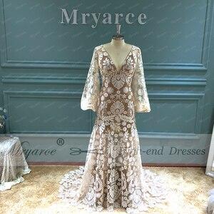 Image 2 - Mryarce 2020 Modern Bride Unique Lace Long Sleeve Boho Wedding Dress Bohemian Bridal Gowns
