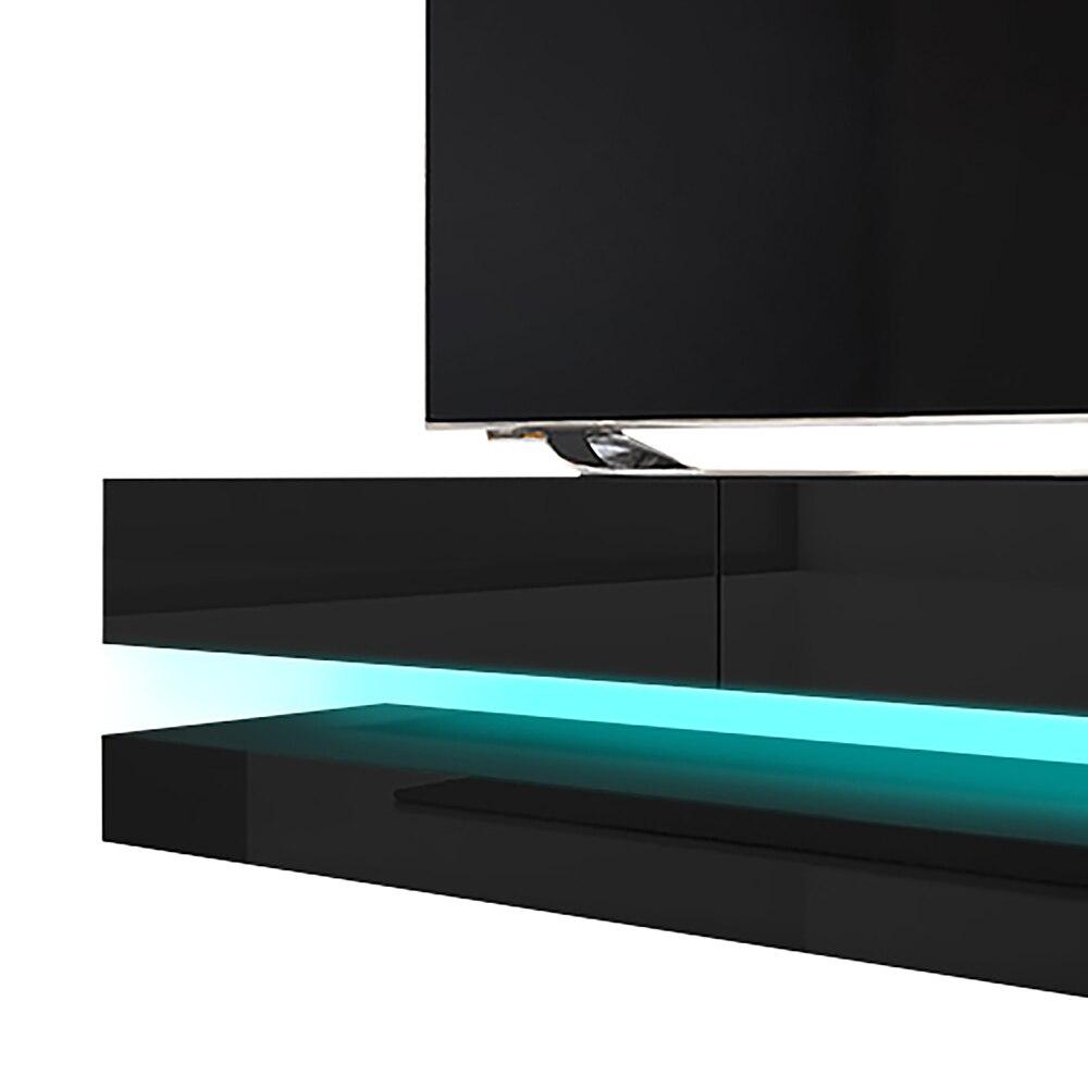 HYLIA Meuble TV suspendu (140 cm, noir mat / noir brillant avec LED) 3