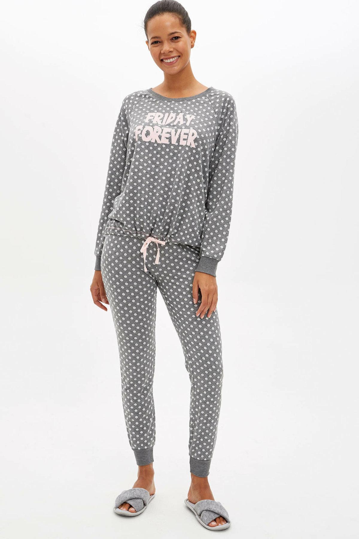 DeFacto Woman Autumn Polka Dot Pajamas Set Women Light Grey Casual Homewear Knitted Sets-L5136AZ19AU