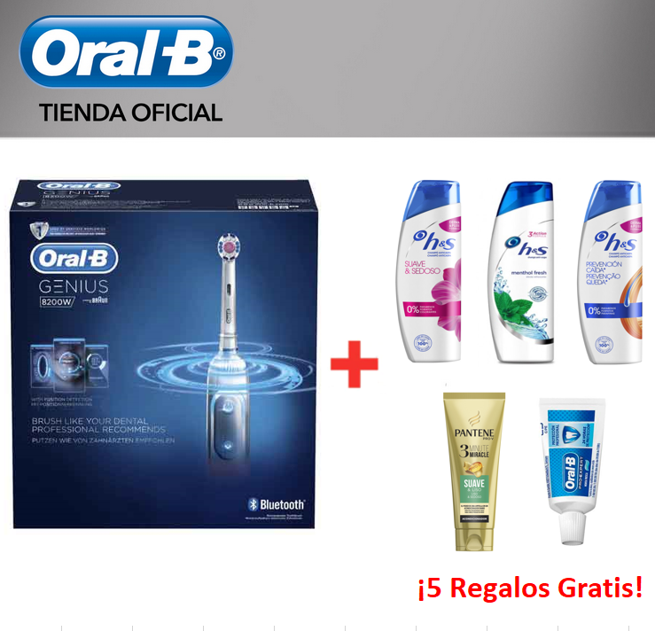 Oral B Electric Genius 8200W Toothbrush Rechargeable-5 modes cleaners + Toothpaste + 3 shampoos H & S + 1 set Pantene image