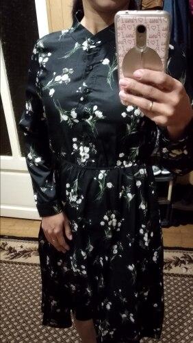 Autumn Winter Black Vintage Floral Chiffon Midi Dress Plus Size Boho Dresses Elegant Women Party Long Sleeve Dress Vestidos photo review