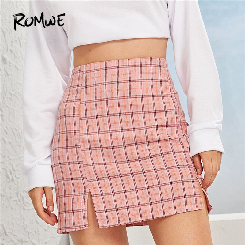 ROMWE Sheath Random Plaid Side Slit Skirt Summer Side Slit Plaid Skirt A Line Mid Waist Mini Skirt Women Kawaii Skirts Clothing