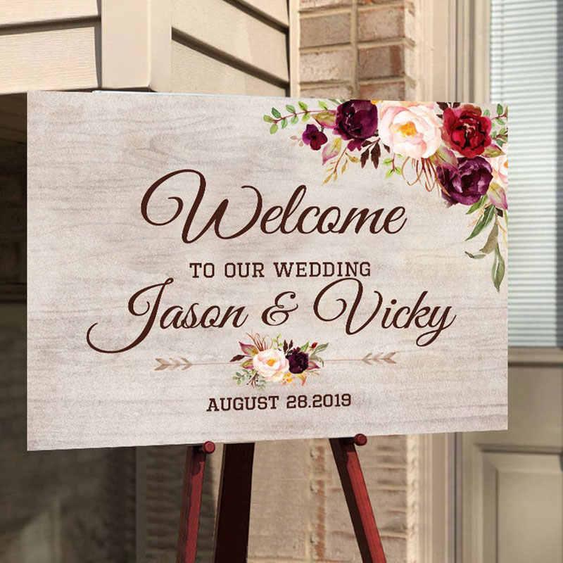 Kayu Tanda Selamat Datang Pernikahan Selamat Datang Di Pernikahan Kami Selamat Datang Papan Tanda Kustom Nama Pasangan Tanggal dengan Bunga Pedesaan Dekorasi Pernikahan