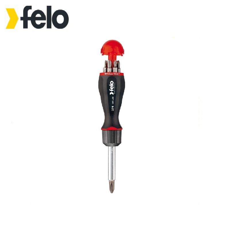 Felo Screwdriver with reversing mechanism with a set of bits 8pcs 37420405 Ratchet mechanism Magnetized tip