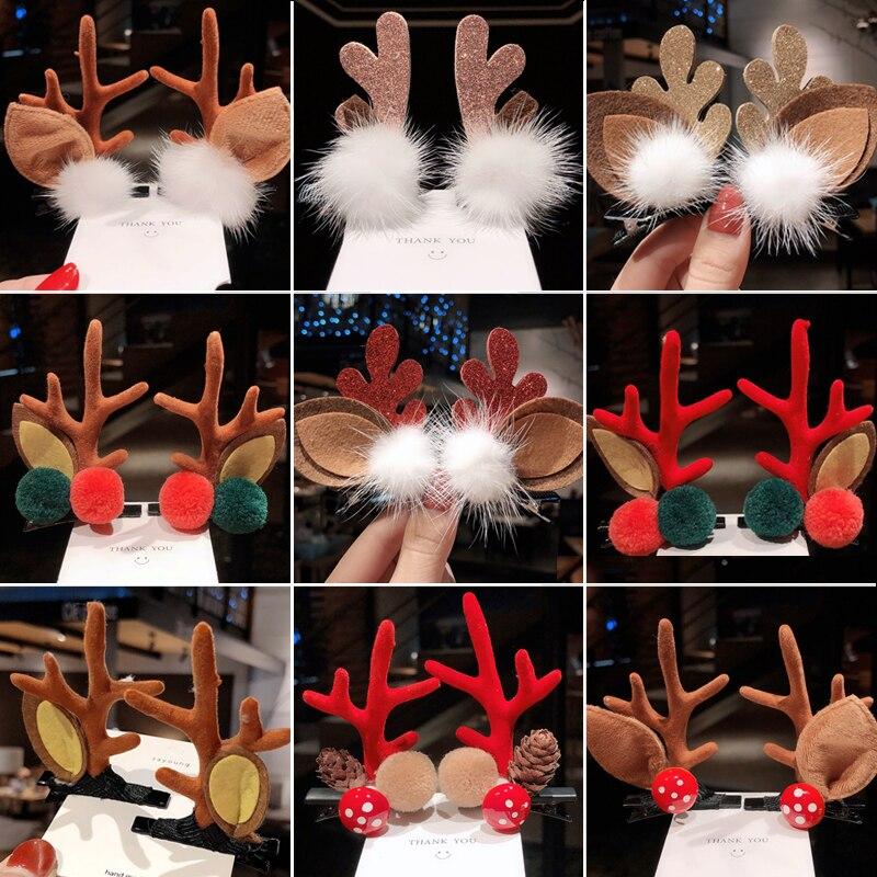 1 Pair Children Christmas Antler Hairpin Girls Funny Hair Ornaments Deer Ears Headdress