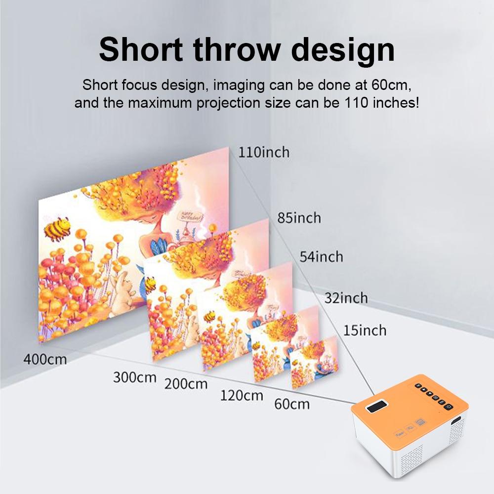 Unic uc28d mini projetor led 500 lumens 480*272 resolução física suporte 1080p hd 5v 2a filme mesma tela com telefone móvel-1