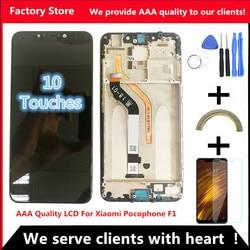 """6.18 """"AAA 품질 LCD + 프레임 샤오미 Pocophone F1 디스플레이 POCO F1 LCD 스크린 디스플레이 2246*1080 해상도"""