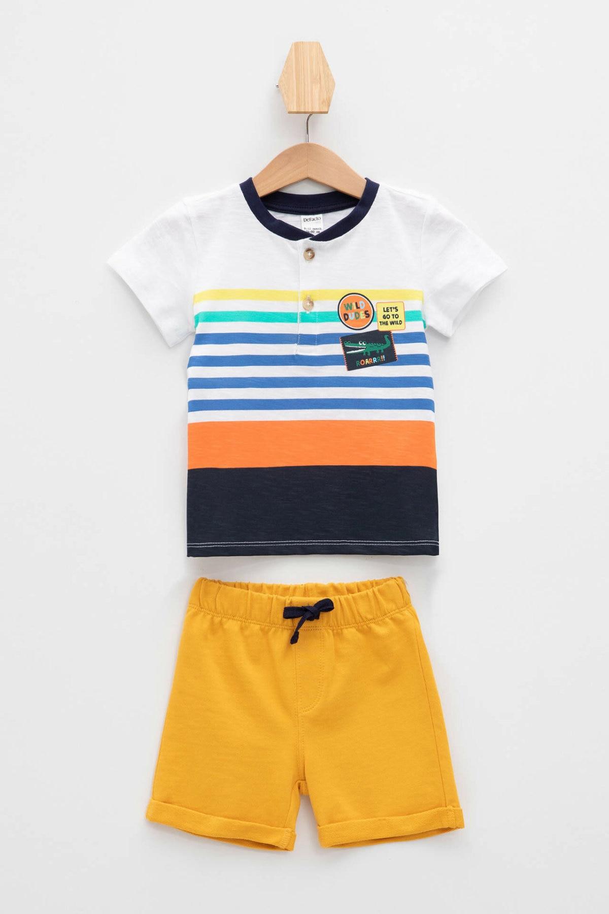 DeFacto Summer BabyBoy Set Casual Kids O-neck Shorts Sets Comfortable Boys Cute Pattern T-shirt Short Pant - L0223A219SM