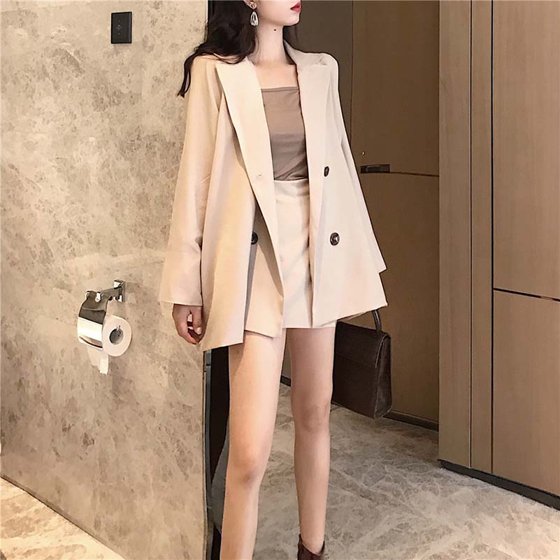 Casual 2 Pieces Set Women Pant Suit Double Breasted Notched Jacket Blazer & Elastic Waist Hot Skirt Female Short Suits 2019