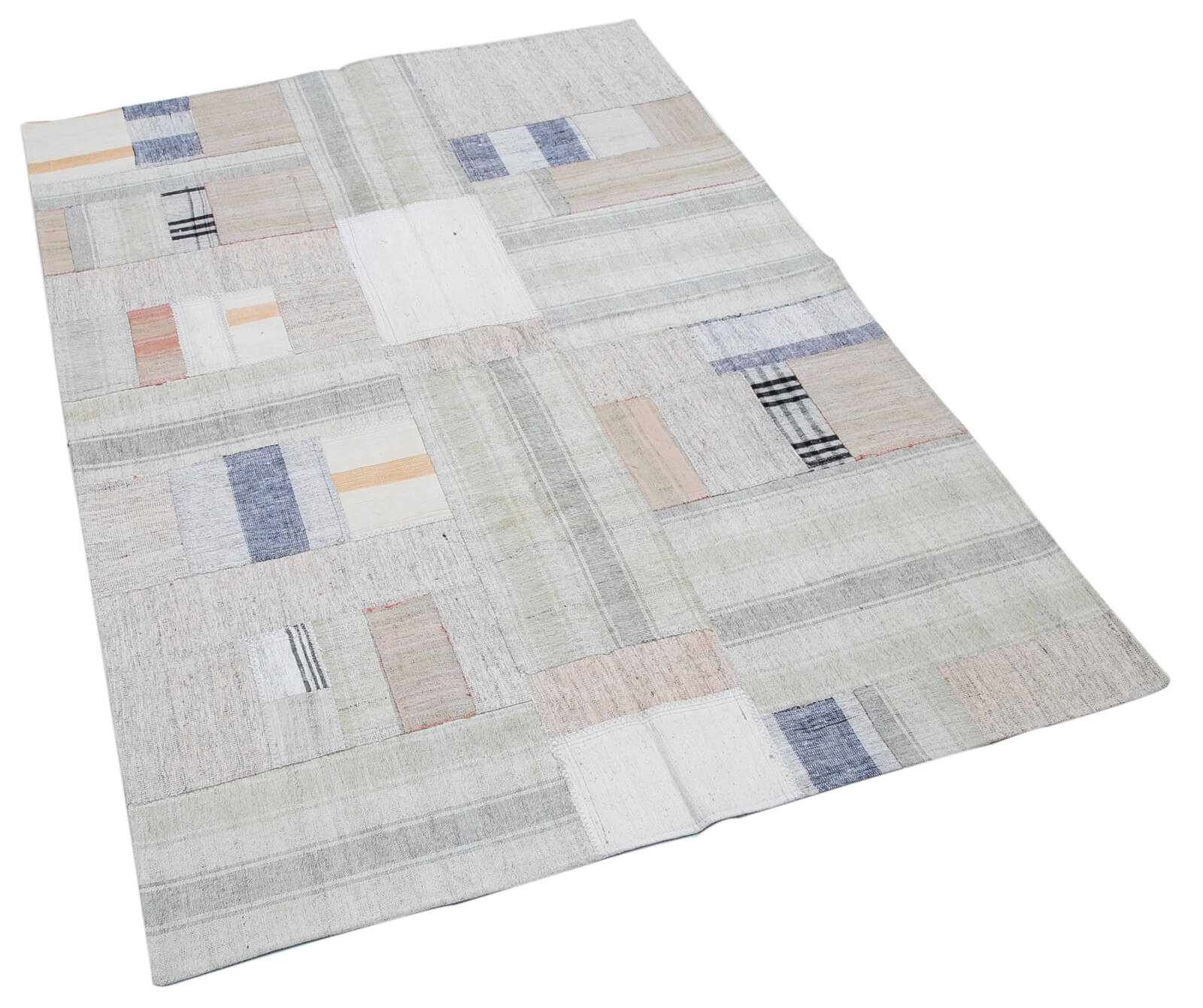 126x181 Cm Beige Handmade Rugs Patchwork Rug-4x6 Ft