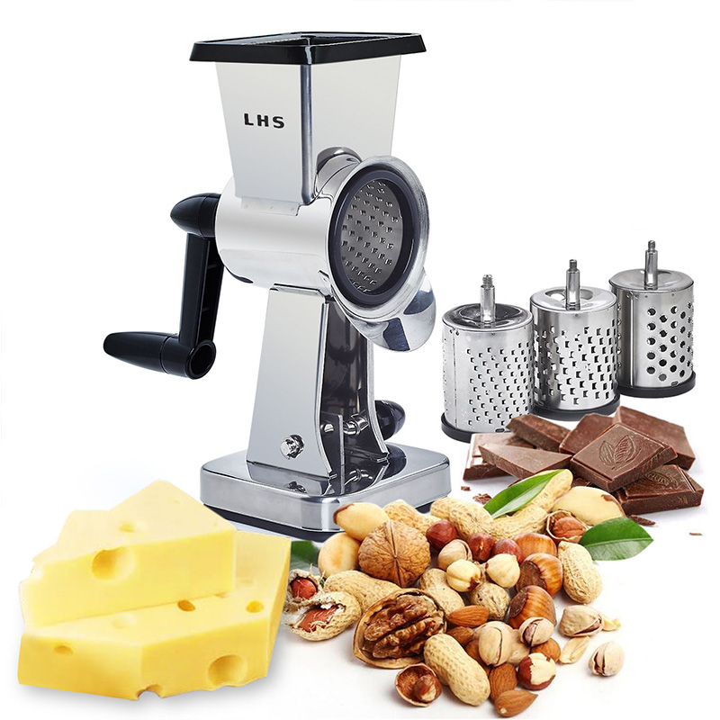 Rotary Cheese Grater Stainless Steel Chocolate Butter Shredder Grinder Interchangeable Sharp Drum Blade Gadgets for Men