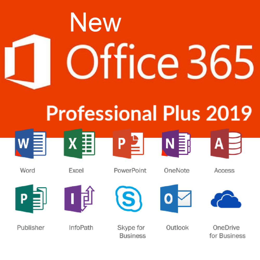 Professional Office Plus 2019 365 Word, Exel, Tems, Onedrive, 5 devices Multi-lenguage