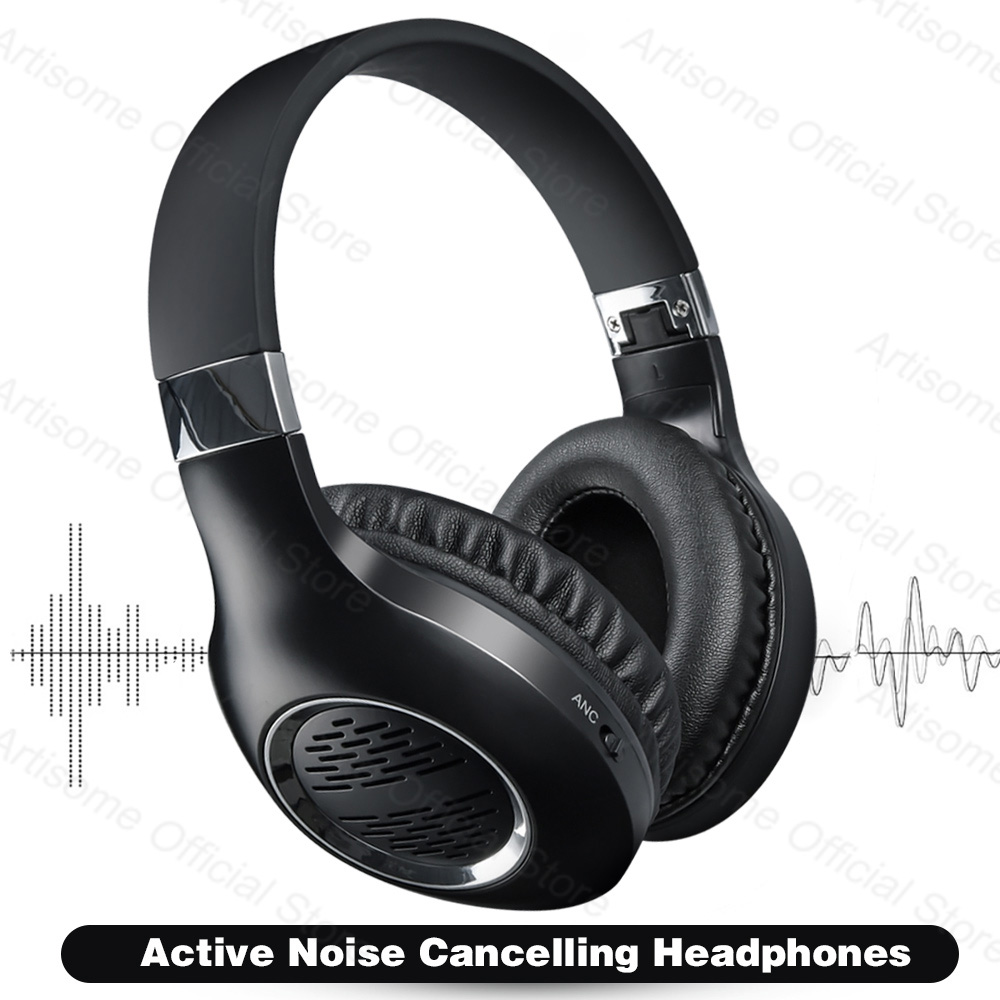 True Active Noise Cancelling ANC Headphones Bluetooth Earphones Wireless Headphone Support Wired Connection HiFi Stereo With Mic