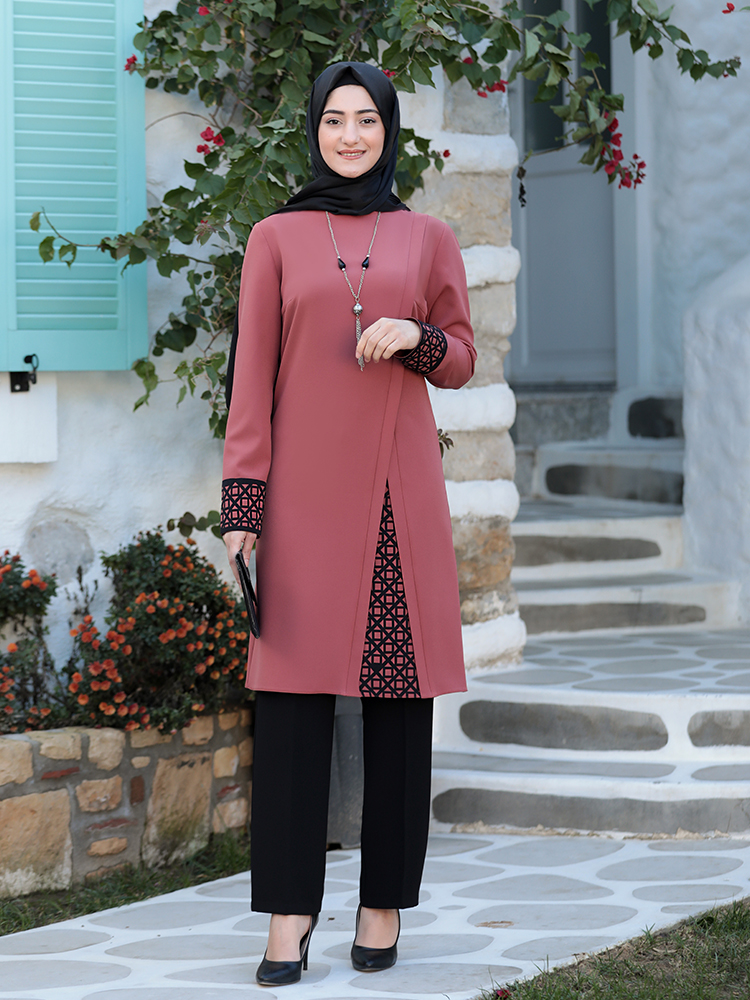 Women Hijab Suit Black Pants Patterned Tunic Combination Islamic Muslim Clothing New Season Made in Turkey High Quality Crepe