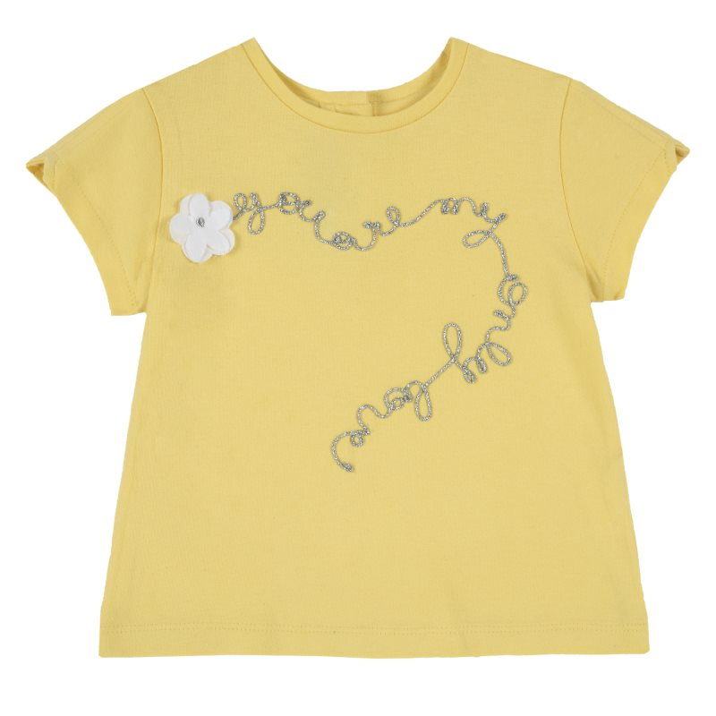 T-shirt Chicco, size 086, print you are my only love (yellow) plus size letter print striped t shirt