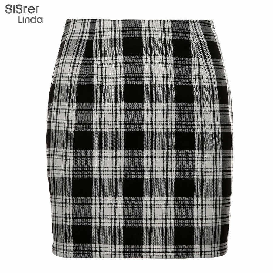 Sisterlinda ヴィンテージ黒のチェック柄ミニスカートの女性ハイウエストミニスカートファッションオフィスの女性のパーティーサイドジッパースカート Mujer 2019
