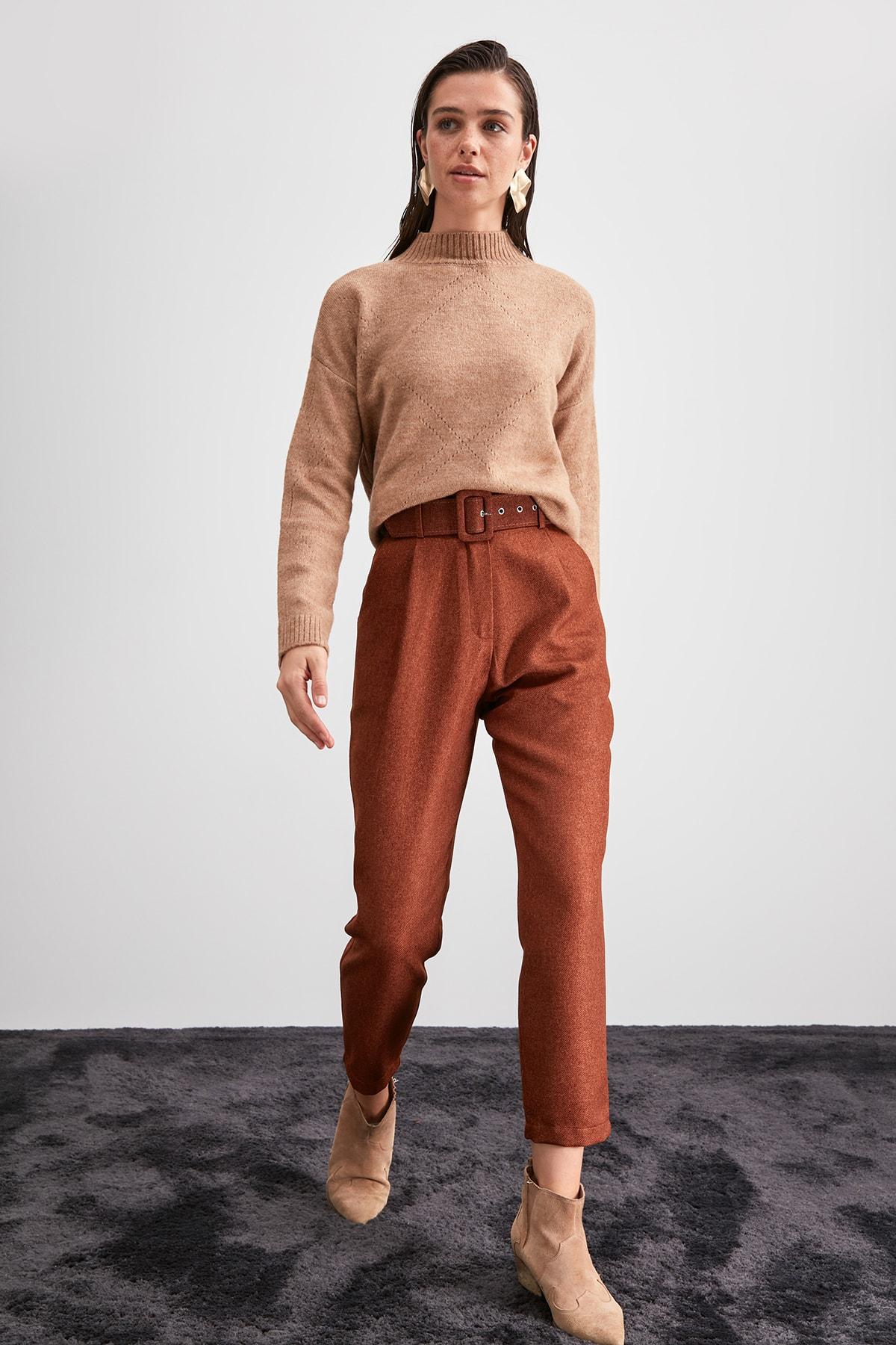 Trendyol Belt Detail Pants TWOAW20PL0542